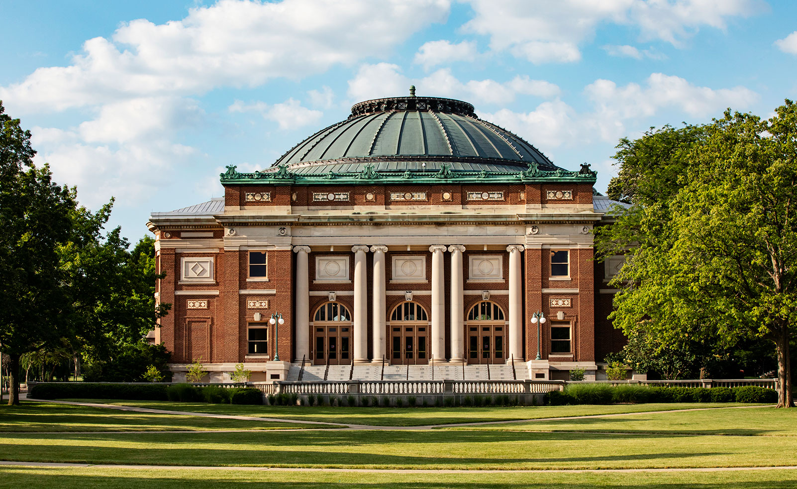 the front of Foellinger Auditorium on a bright, summer day