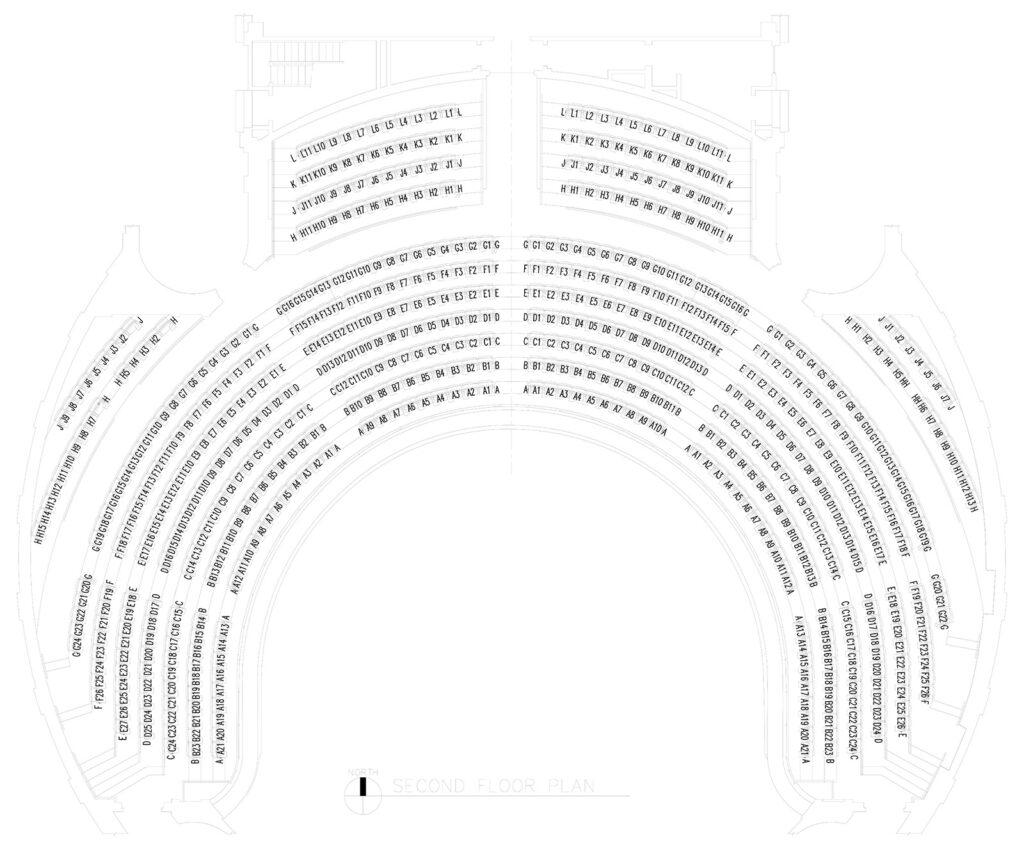floor plans for the balcony of Foellinger Auditorium