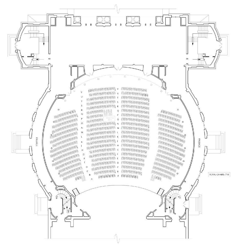 floor plans for the main floor of Foellinger Auditorium